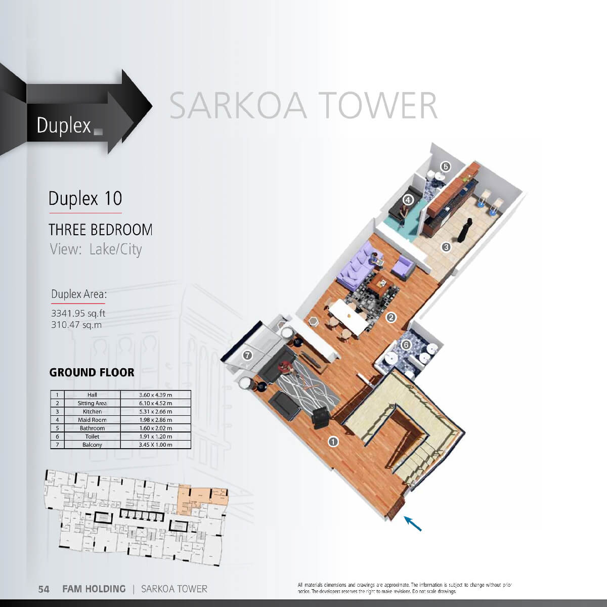 Planning of the apartment 3BR, 3341.95 in Sarkoa Tower, Sharjah