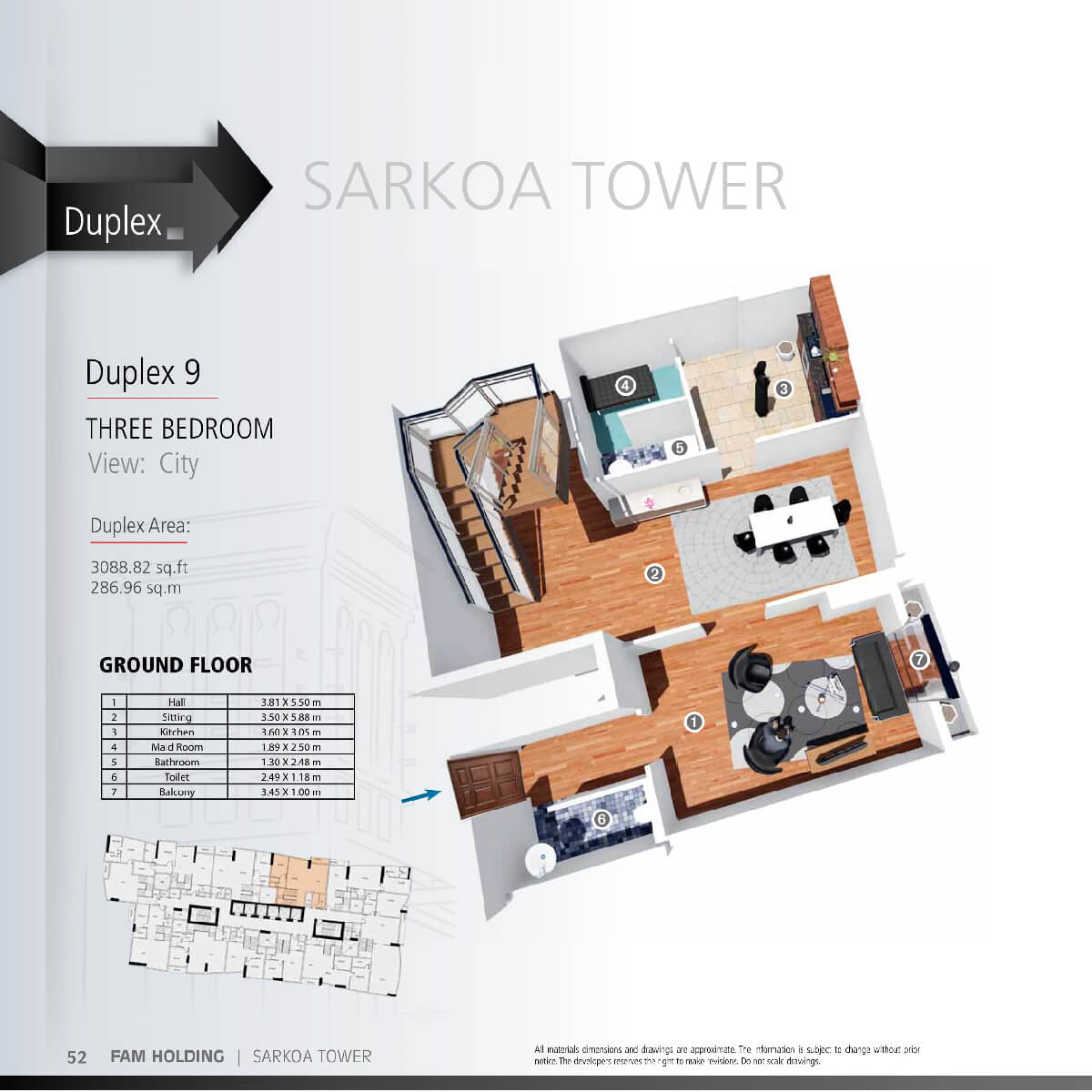Planning of the apartment 3BR, 3088.82 in Sarkoa Tower, Sharjah