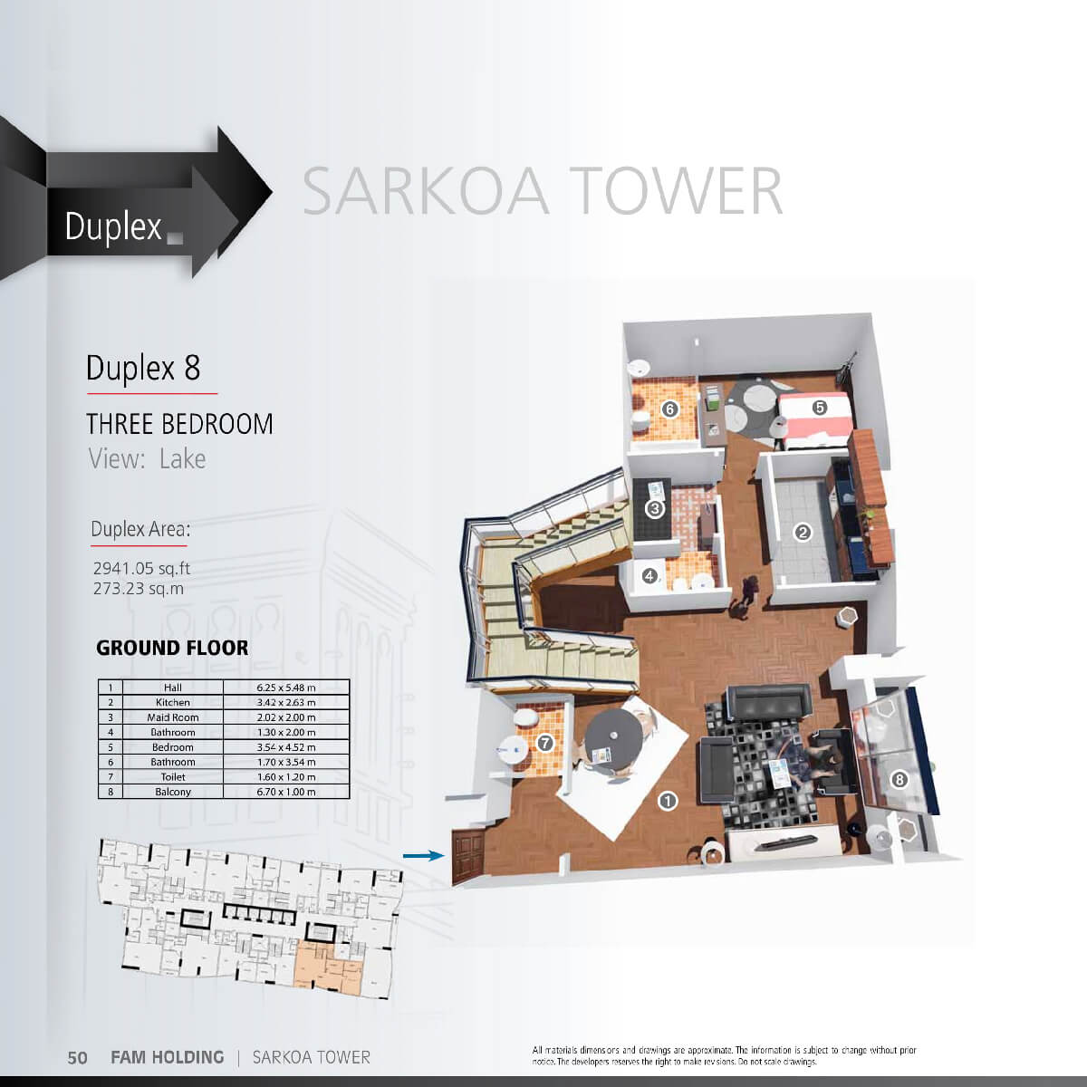 Planning of the apartment 3BR, 2941.05 in Sarkoa Tower, Sharjah
