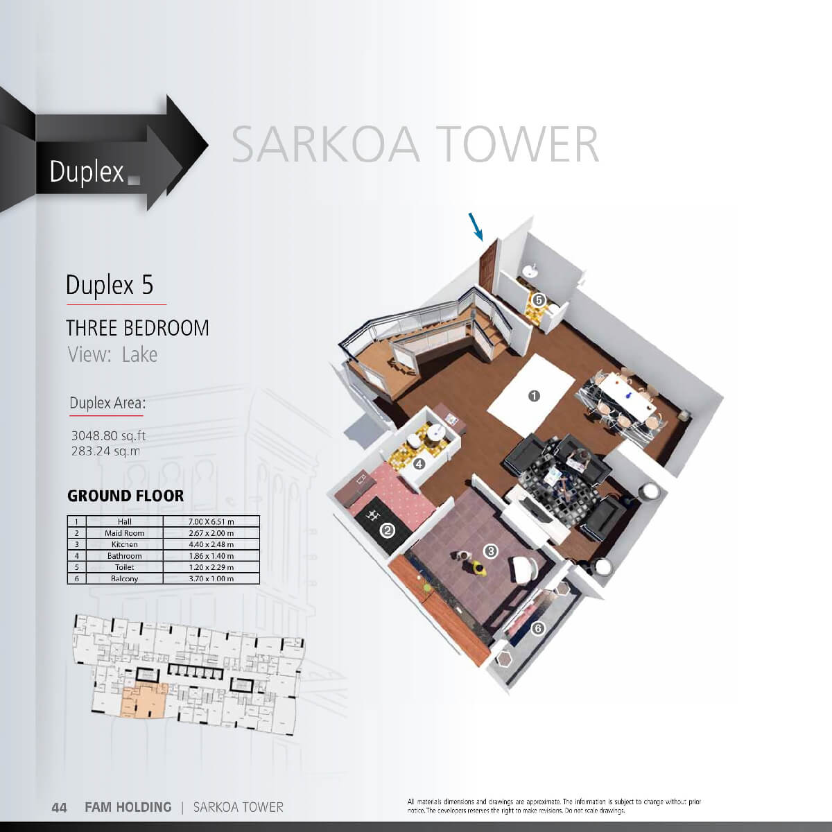 Planning of the apartment 3BR, 3048.8 in Sarkoa Tower, Sharjah