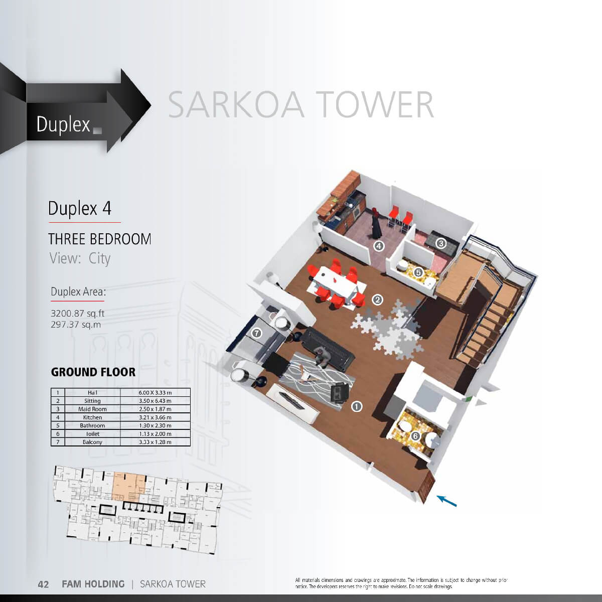 Planning of the apartment 3BR, 3200.87 in Sarkoa Tower, Sharjah