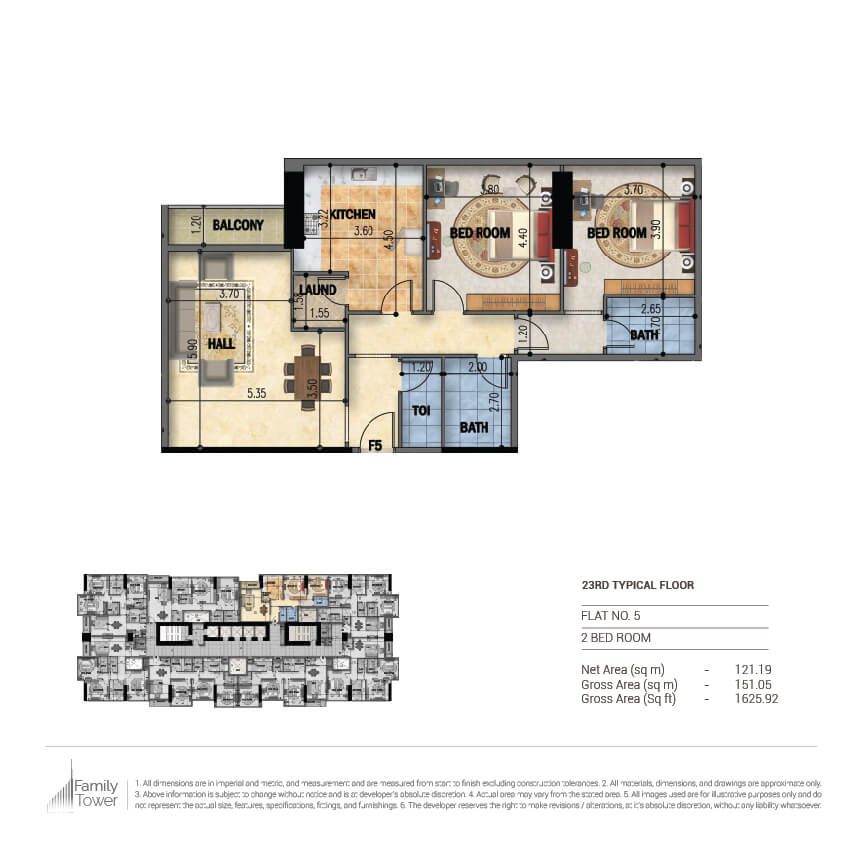 Planning of the apartment 2BR, 1625.92 in Family Tower, Sharjah