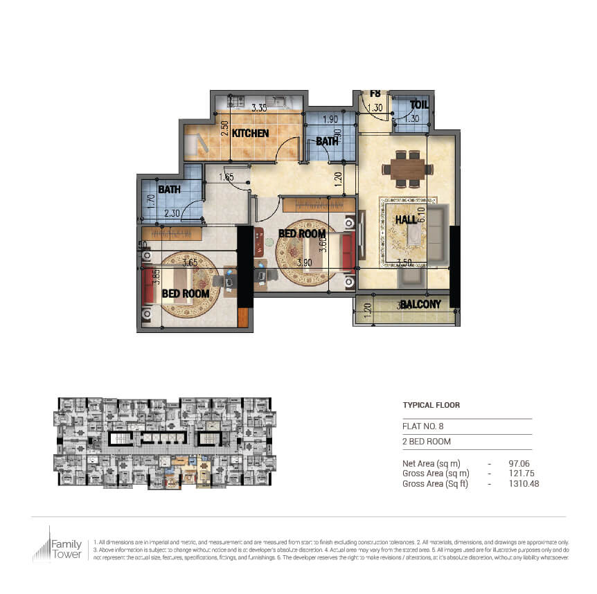 Planning of the apartment 2BR, 1310.48 in Family Tower, Sharjah