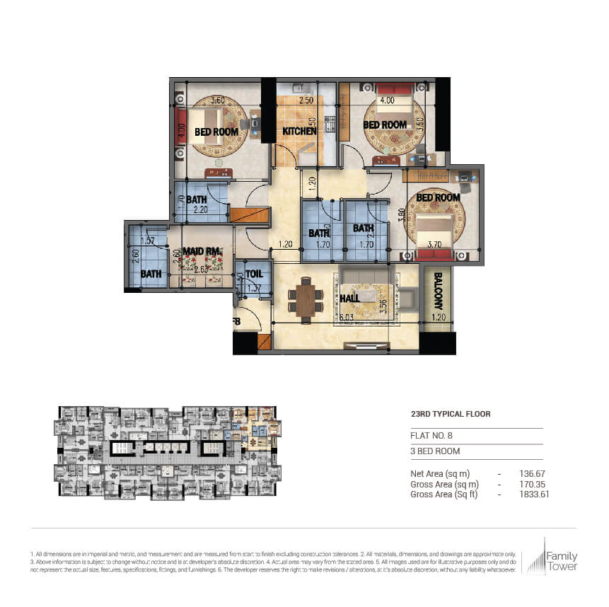Planning of the apartment 3BR, 1833.61 in Family Tower, Sharjah