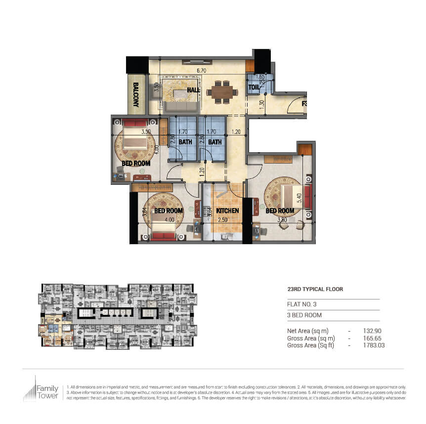 Planning of the apartment 3BR, 1783.03 in Family Tower, Sharjah
