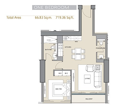 Planning of the apartment 1BR, 719.36 in Arabian Gate 1, Dubai