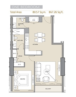 Planning of the apartment 1BR, 867.26 in Arabian Gate 1, Dubai