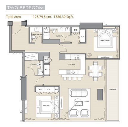 Planning of the apartment 2BR, 1386.3 in Arabian Gate 1, Dubai