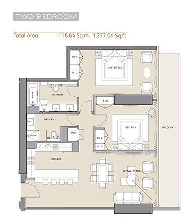 Planning of the apartment 2BR, 1277.04 in Arabian Gate 1, Dubai