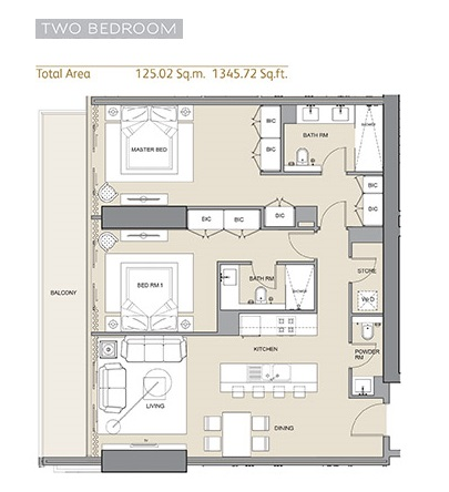 Planning of the apartment 2BR, 1345.72 in Arabian Gate 1, Dubai