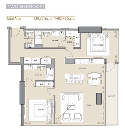 Planning of the apartment 2BR, 1402.76 in Arabian Gate 1, Dubai