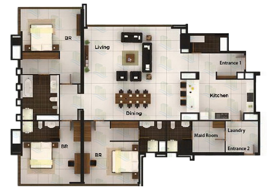 Planning of the apartment 2BR, 2669 in Al Durrah Tower, Abu Dhabi