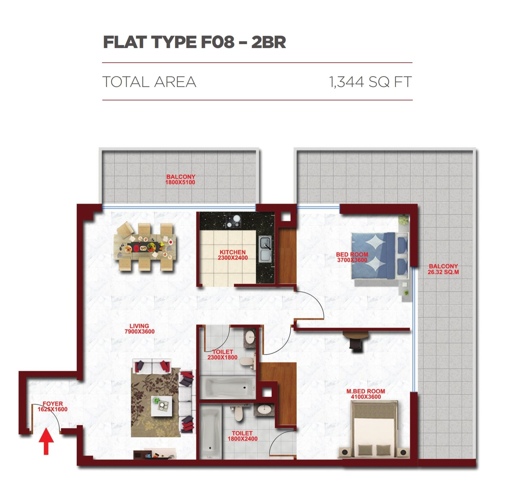 Planning of the apartment 2BR, 1344 in Glitz Residence 2, Dubai