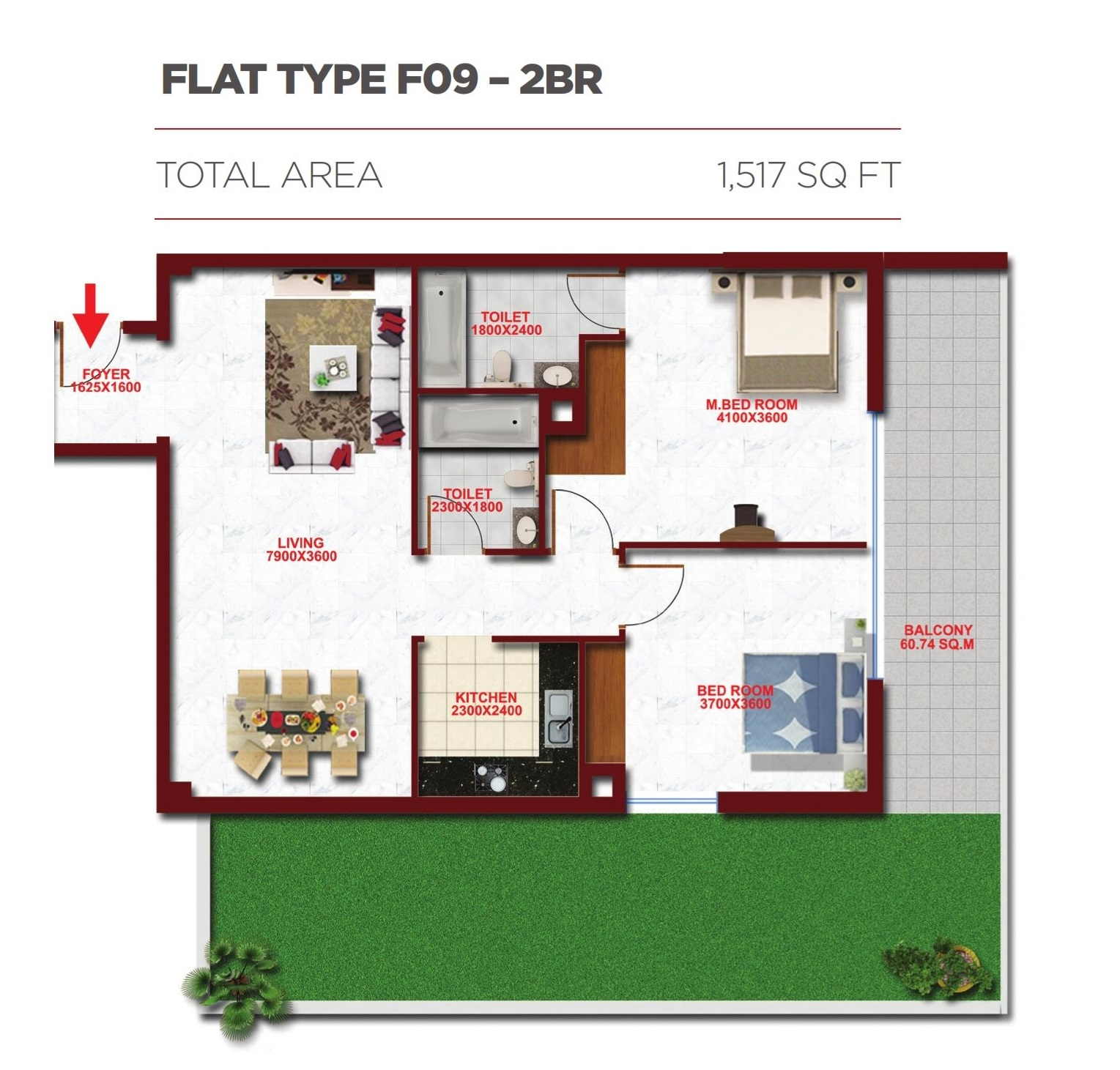 Planning of the apartment 2BR, 1517 in Glitz Residence 2, Dubai