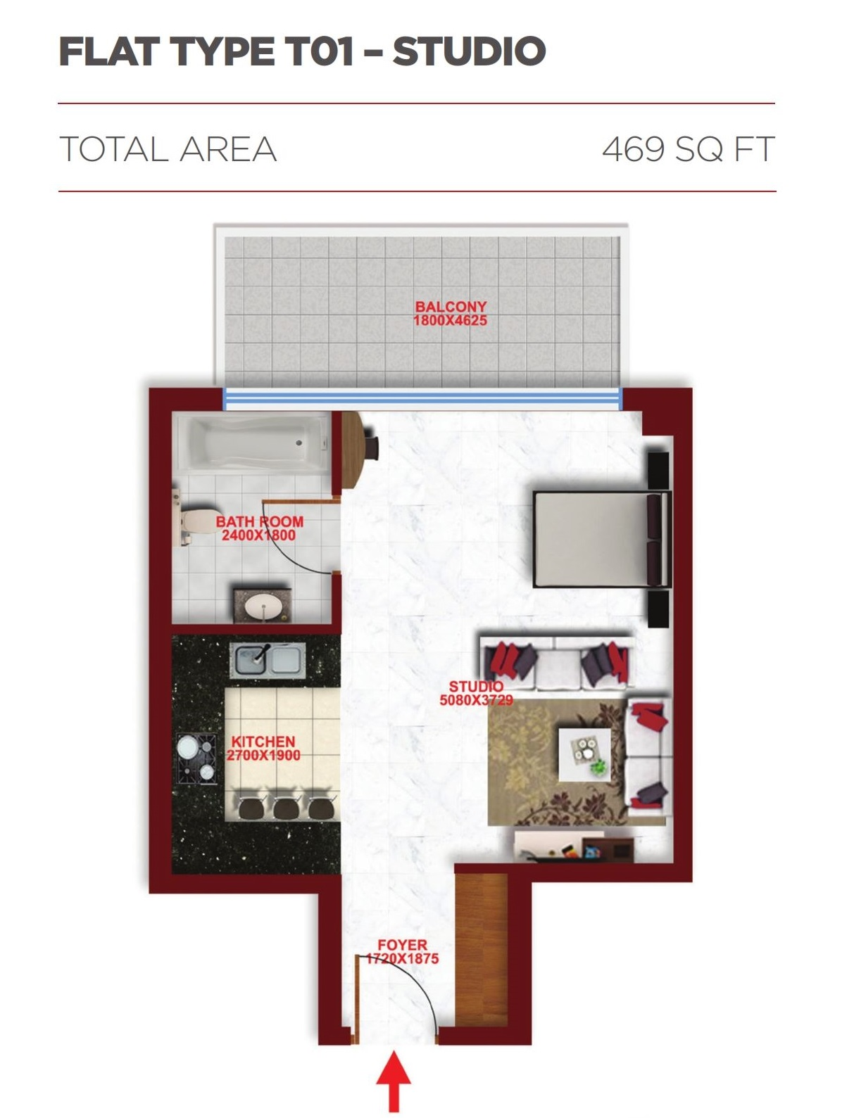 Planning of the apartment Studios, 469 in Glitz Residence 2, Dubai