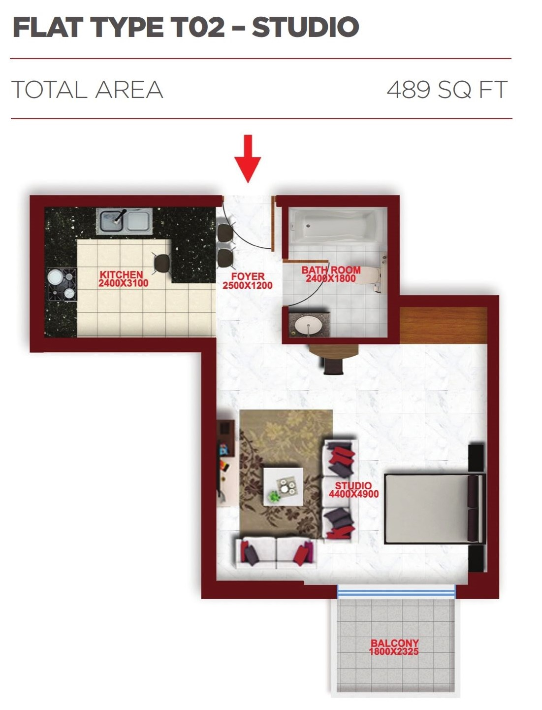 Planning of the apartment Studios, 489 in Glitz Residence 2, Dubai