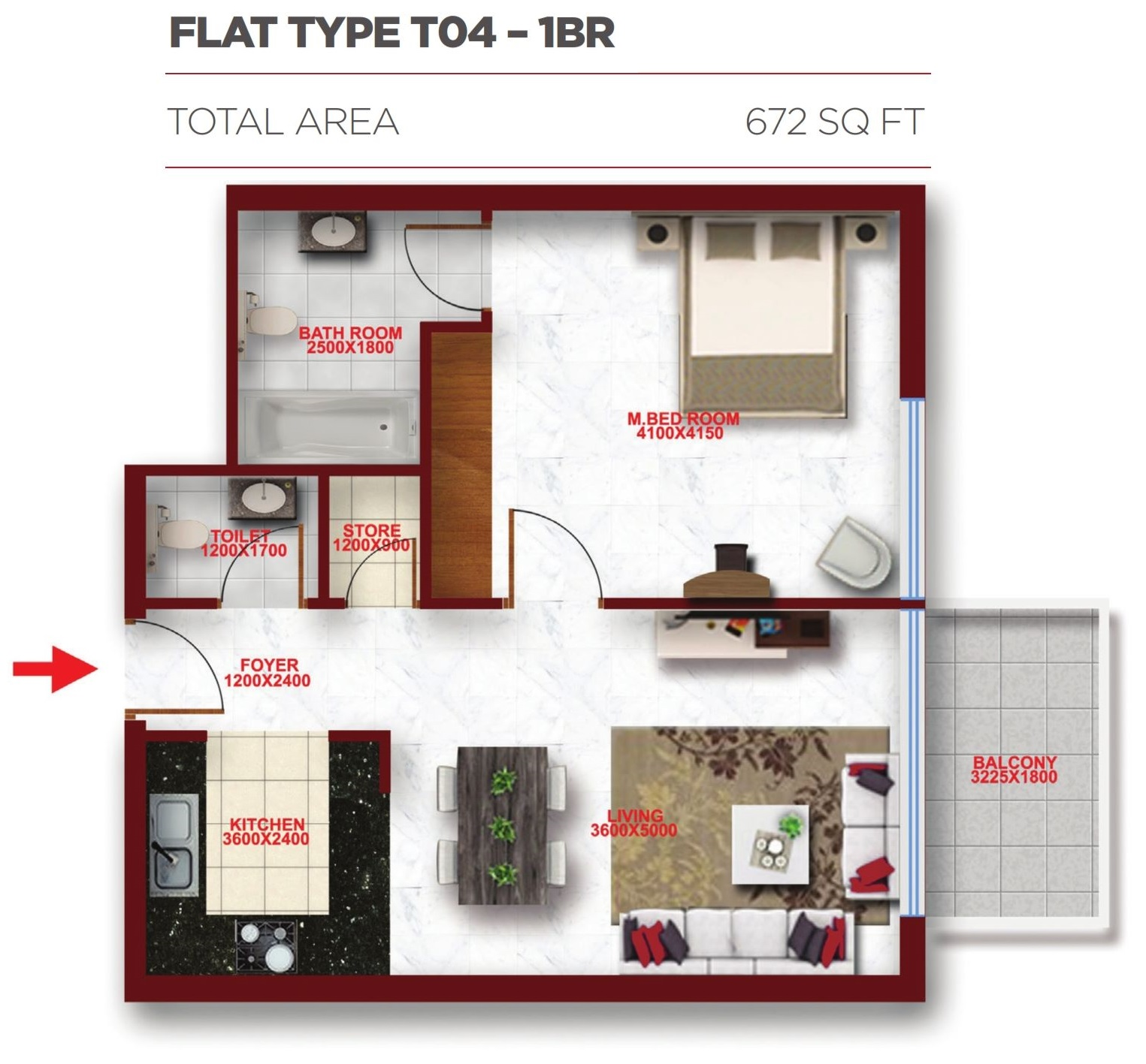 Planning of the apartment 1BR, 672 in Glitz Residence 2, Dubai