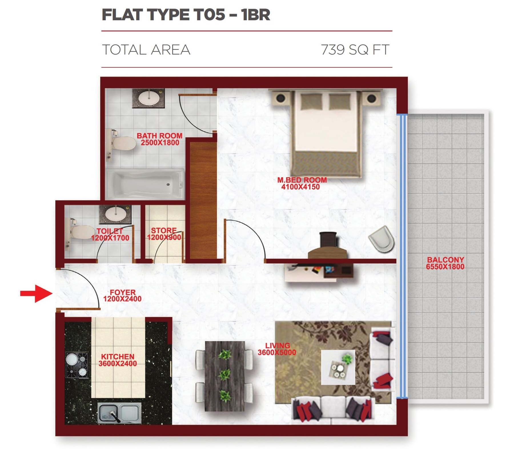 Planning of the apartment 1BR, 739 in Glitz Residence 2, Dubai