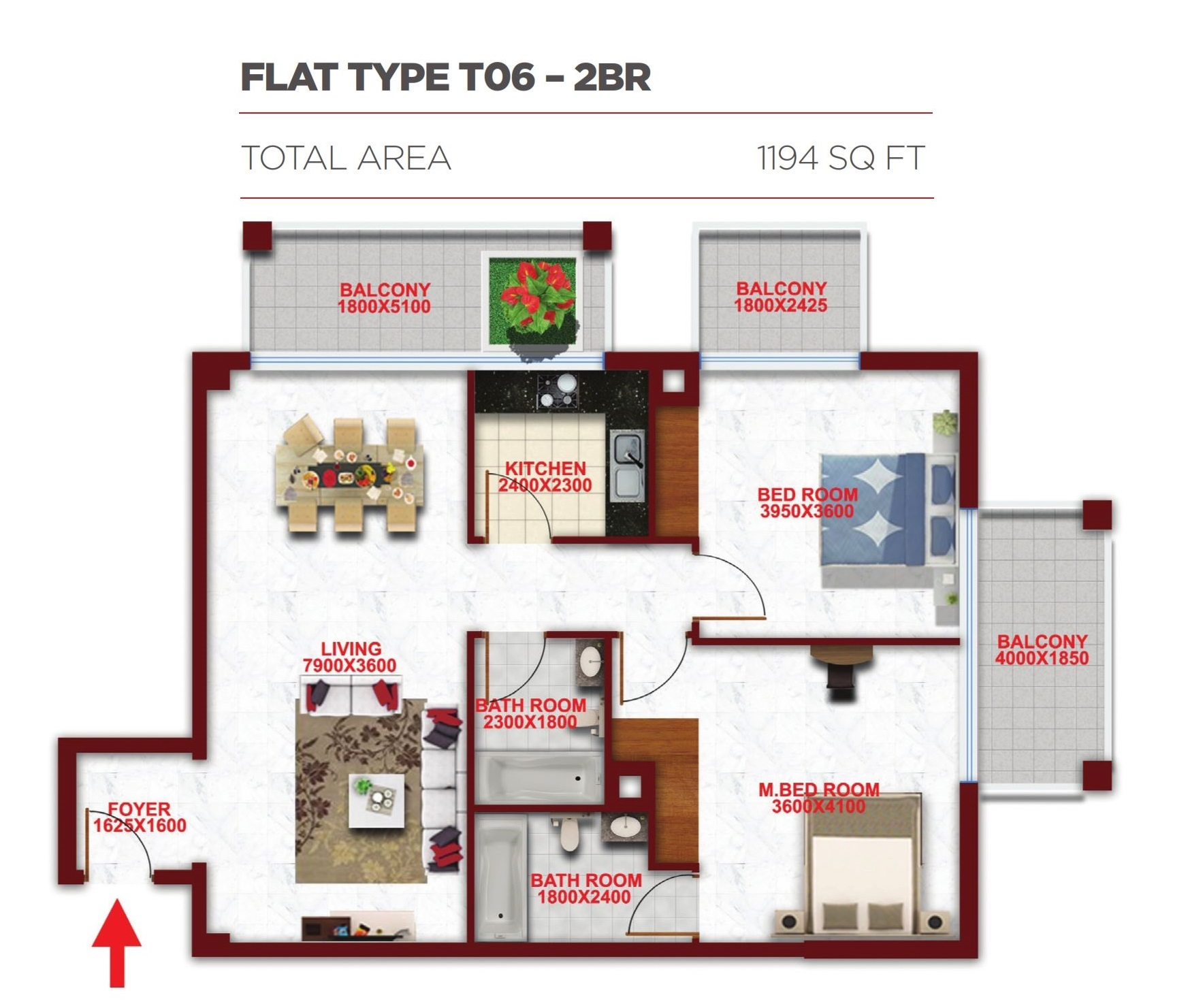 Planning of the apartment 2BR, 1194 in Glitz Residence 2, Dubai