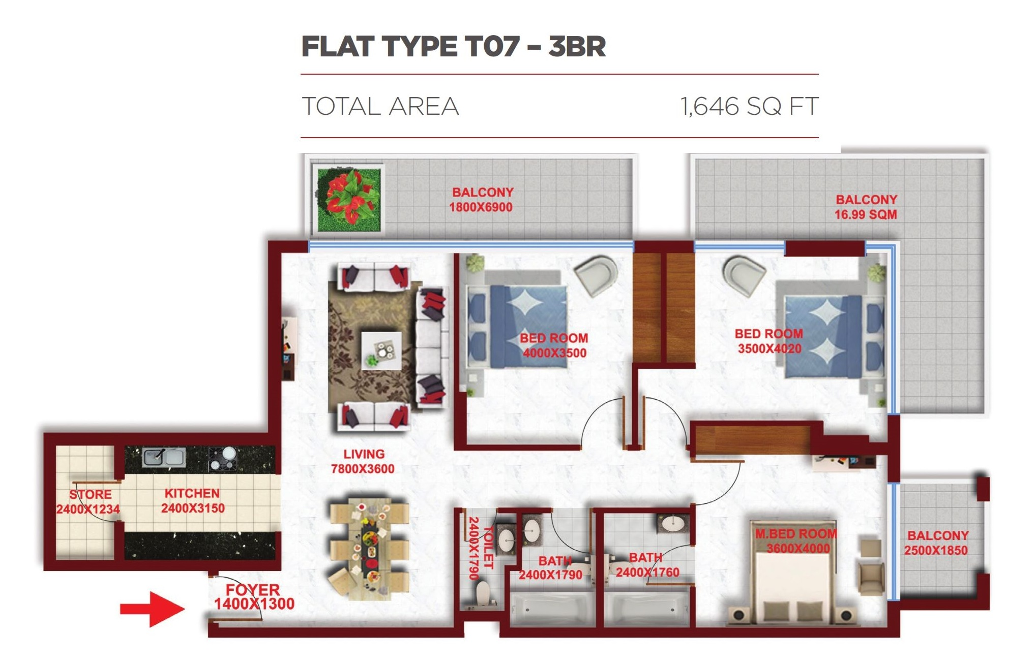 Planning of the apartment 3BR, 1646 in Glitz Residence 2, Dubai