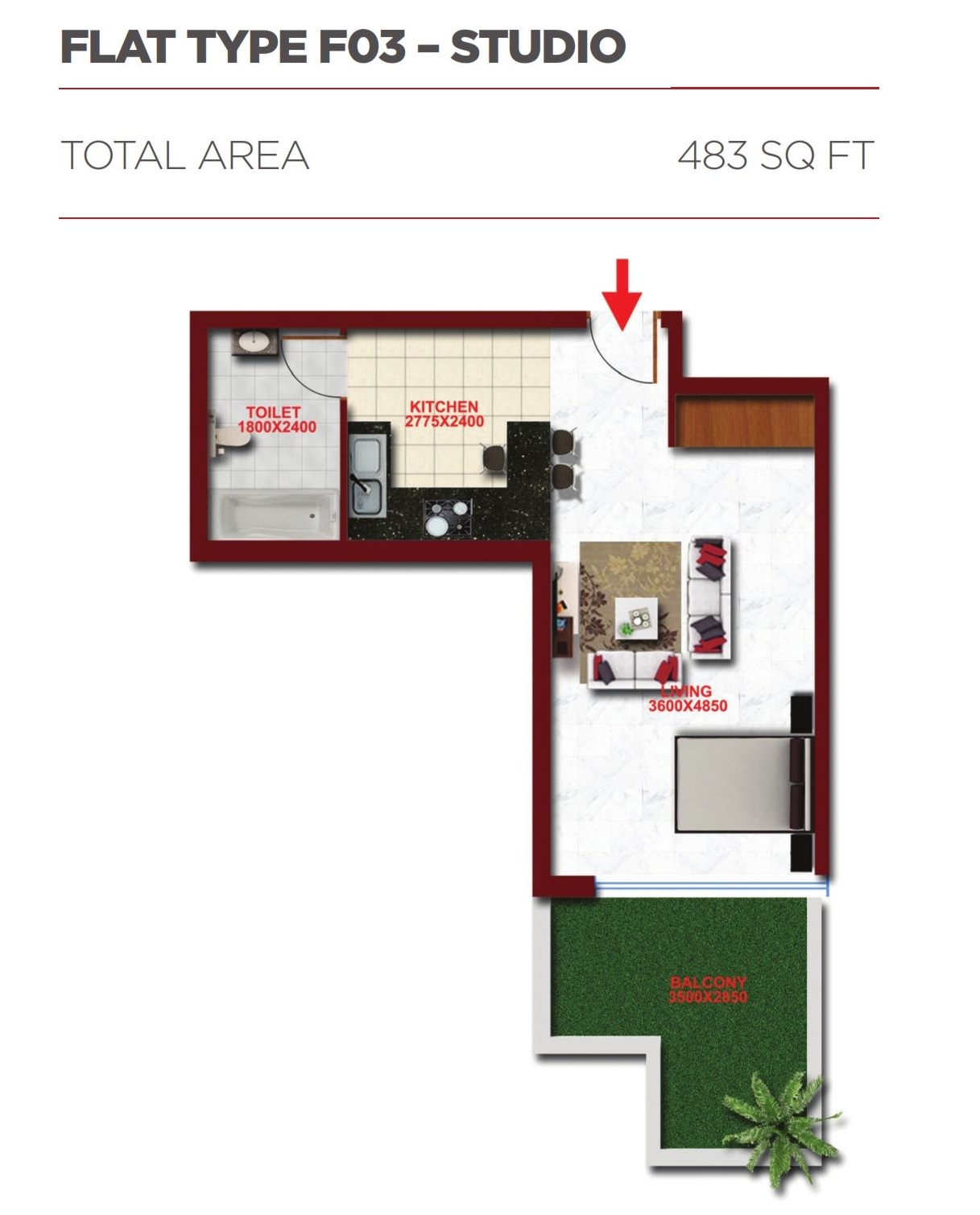 Planning of the apartment Studios, 483 in Glitz Residence 2, Dubai