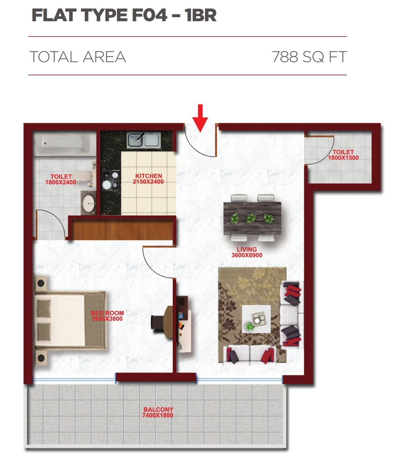Planning of the apartment 1BR, 788 in Glitz Residence 2, Dubai