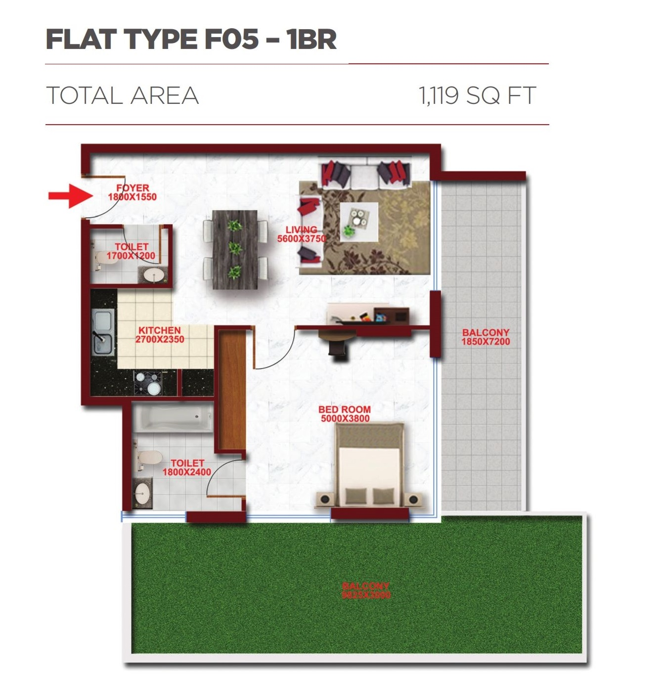 Planning of the apartment 1BR, 1119 in Glitz Residence 2, Dubai