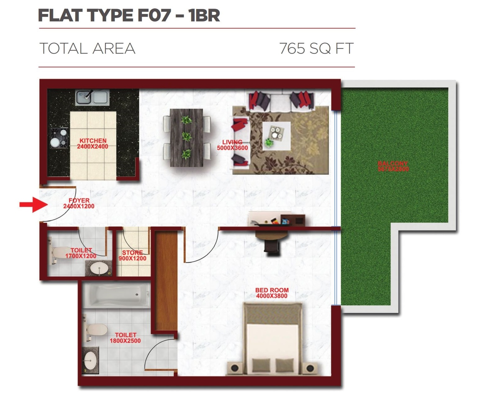 Planning of the apartment 1BR, 765 in Glitz Residence 2, Dubai