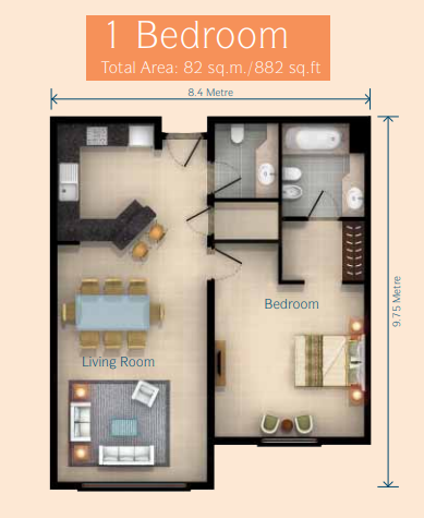 Planning of the apartment 1BR, 882 in Discovery Gardens, Dubai