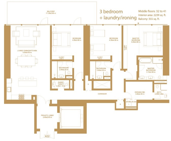 Planning of the apartment 3BR, 2239 in Dorra Bay Tower, Dubai