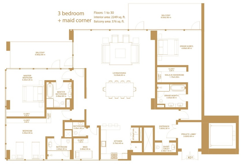 Planning of the apartment 3BR, 2249 in Dorra Bay Tower, Dubai