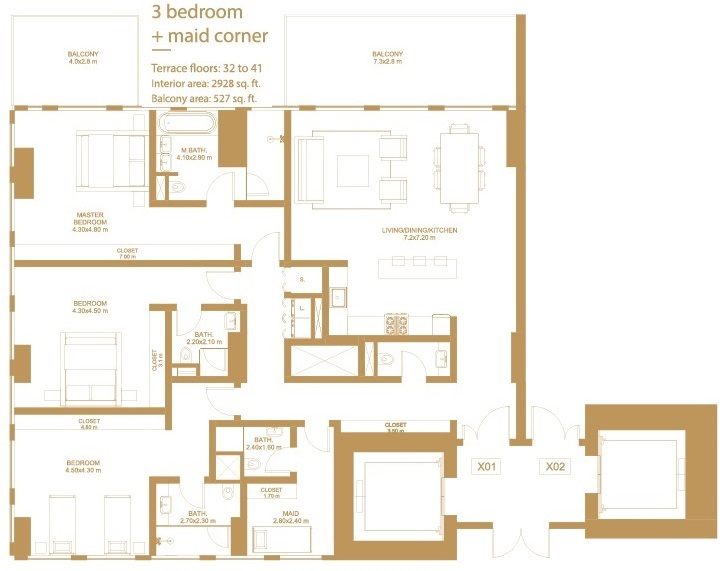 Planning of the apartment 3BR, 2928 in Dorra Bay Tower, Dubai
