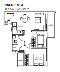 Planning of the apartment 2BR, 635 in Marina Bay Towers, Abu Dhabi