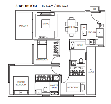 Planning of the apartment 3BR, 883 in Marina Bay Towers, Abu Dhabi