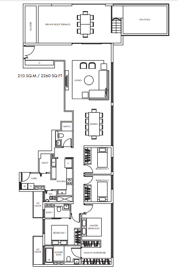 Planning of the apartment Penthouses, 2260 in Marina Bay Towers, Abu Dhabi