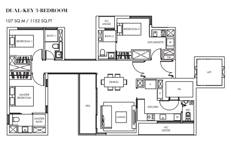 Planning of the apartment 3BR, 1152 in Marina Bay Towers, Abu Dhabi