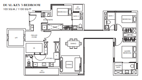 Planning of the apartment 3BR, 1130 in Marina Bay Towers, Abu Dhabi