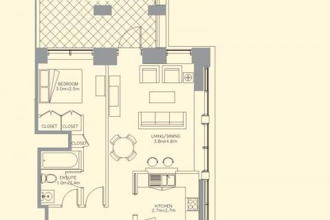 Planning of the apartment 1BR, 1402 in 29 Boulevard Apartments, Dubai