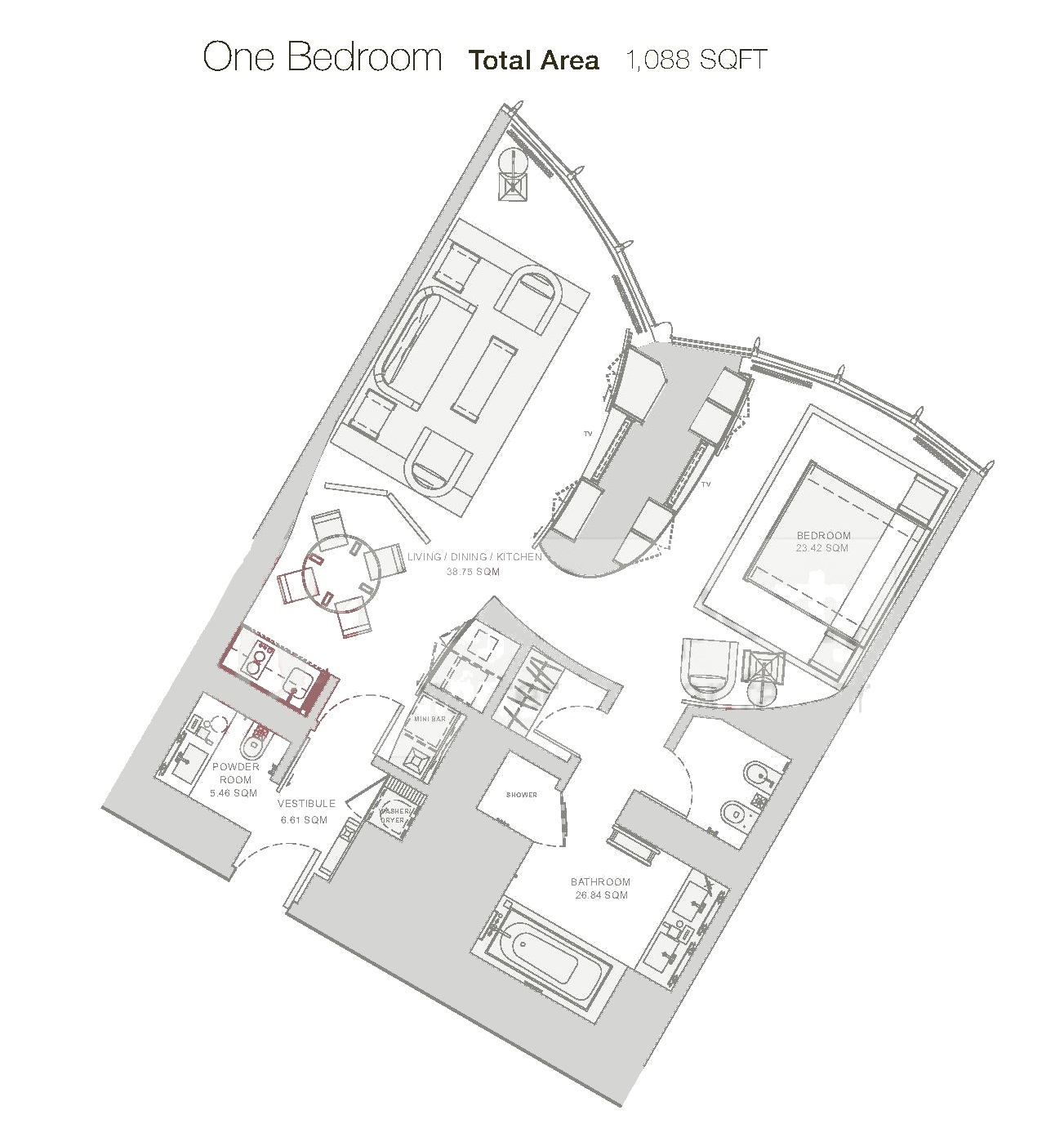 Planning of the apartment 1BR, 1088 in Palazzo Versace, Dubai