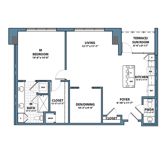 Planning of the apartment 1BR, 1124 in Silverene Towers, Dubai