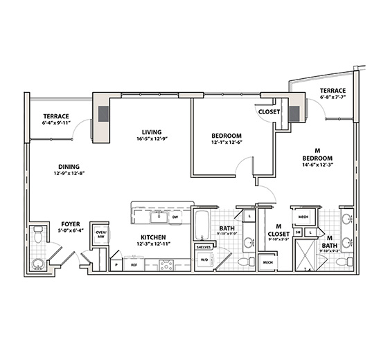 Planning of the apartment 2BR, 1372 in Silverene Towers, Dubai