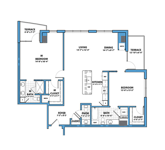 Planning of the apartment 2BR, 1541 in Silverene Towers, Dubai