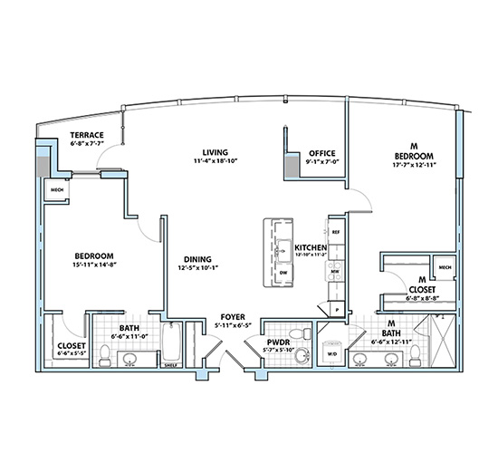 Planning of the apartment 2BR, 1595 in Silverene Towers, Dubai
