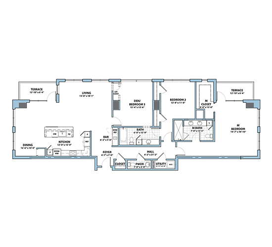 Planning of the apartment 3BR, 2179 in Silverene Towers, Dubai