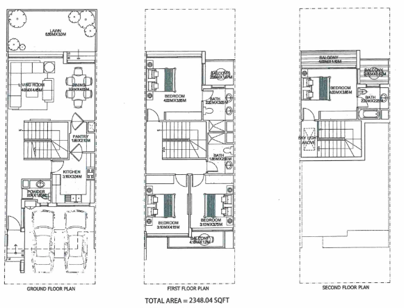 Planning of the apartment Townhouses, 2348 in Ritaj, Dubai