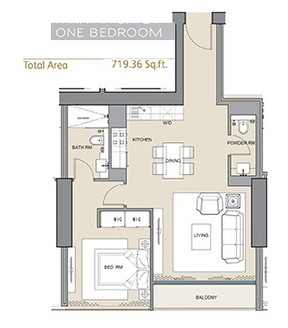 Planning of the apartment 1BR, 719 in Silicon Gates II, Dubai