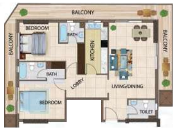 Planning of the apartment 2BR, 1318 in Silicon Gates III, Dubai