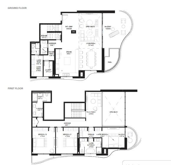 Planning of the apartment Duplexes, 3218.4 in NorthBay Residences, Ras Al Khaimah