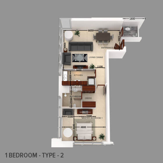 Planning of the apartment 1BR, 872.96 in Al Safeer Tower 2, Dubai