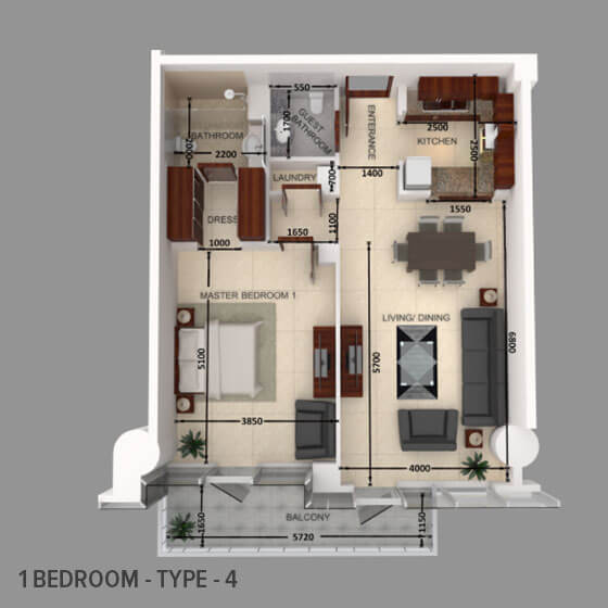 Planning of the apartment 1BR, 1026.46 in Al Safeer Tower 2, Dubai